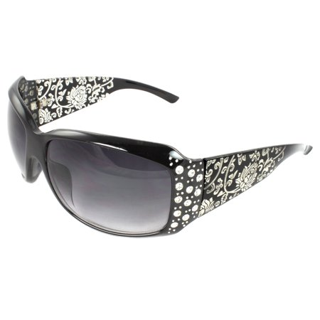 Fashion Sunglasses Black Frame in Floral Pattern Design Purple Black Lenses for (Ocean Blue Sunglasses)