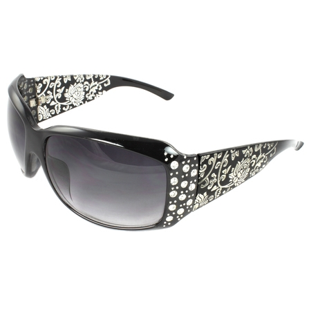 Fashion Sunglasses Black Frame in Floral Pattern Design Purple Black Lenses for Women