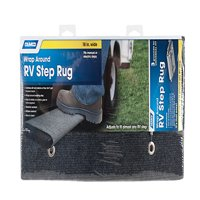 Camco 42925 Wrap Around RV Step Rug, 18'' Wide - Protects Your RV From Unwanted Tracked In Dirt, Works on Electrical Manual RV Steps (Gray)