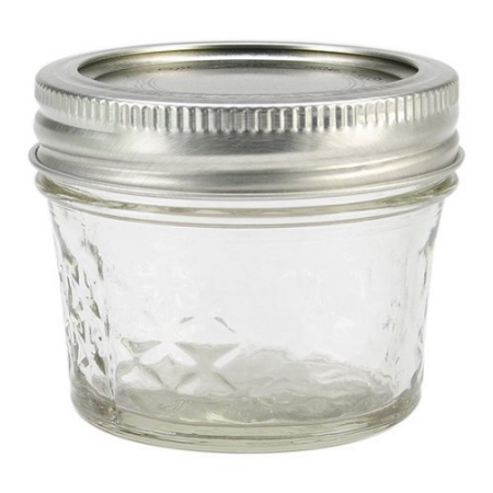 Kerr Quilted Crystal Mason Jar w/Lid & Band, Regular Mouth, 4 Ounces, 12 Count