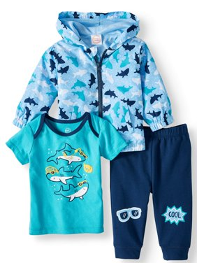 Windbreaker Jacket, Short Sleeve T-shirt & Jogger Pants, 3pc Outfit Set (Baby Boys)