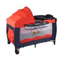 Jeobest Portable Baby Crib Playpen Playard Pack Travel Infant Bassinet Bed - Multifunctional Folding Baby Crib Infant Baby Bed Portable Playpen Sleep Game Bed Red