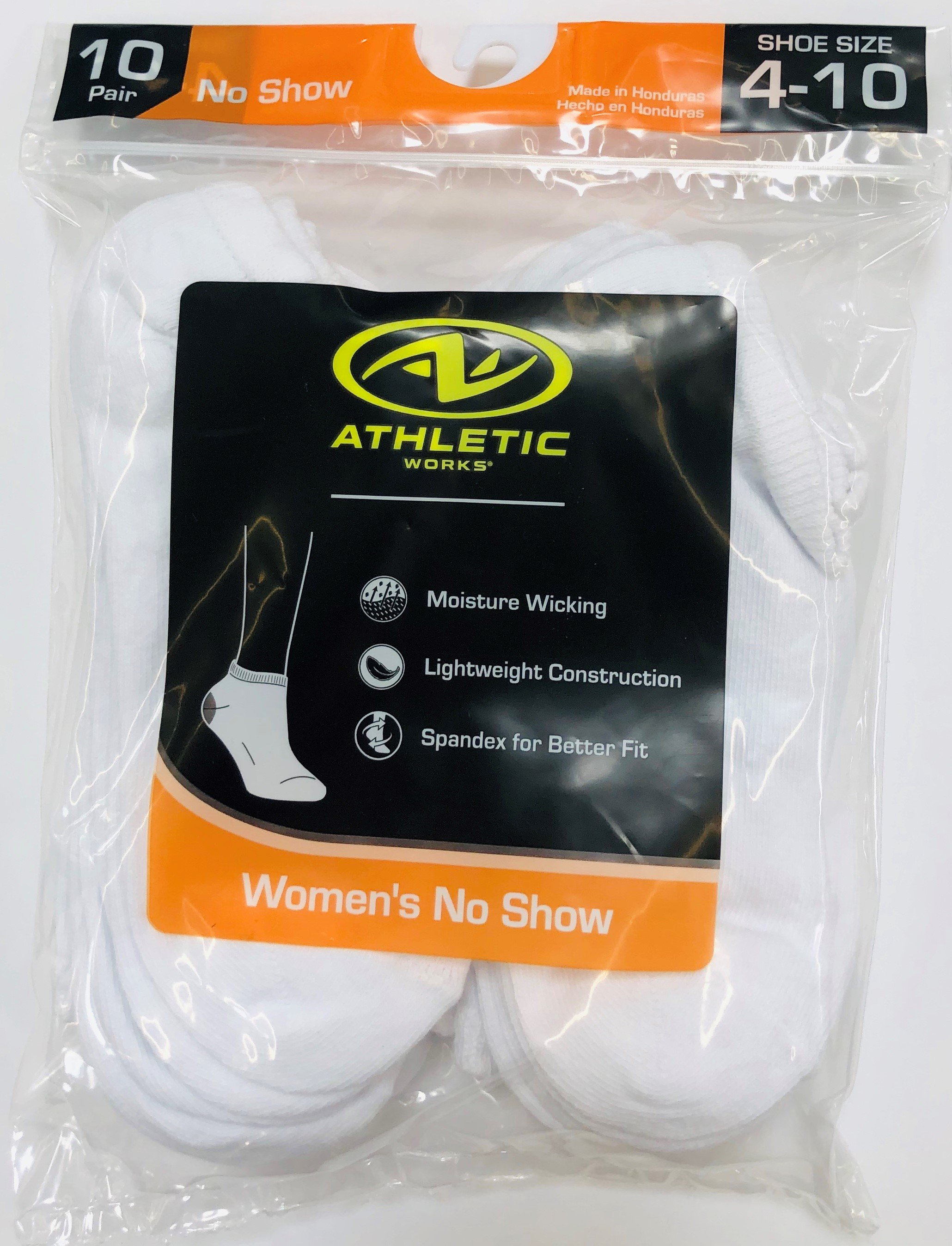 Athletic Works Women's No Show Socks, 10 Pack, 4-10, White