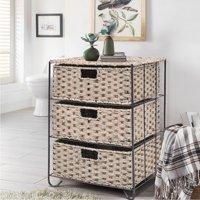 Costway Drawer Storage Unit 3 Rattan Wicker Baskets Bin Chest Tower Rack Organizer Shelf