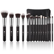 4f57629f9b DUcare Makeup Brushes 15 Pcs Natural Synthetic Professional Brush with  Leather Case