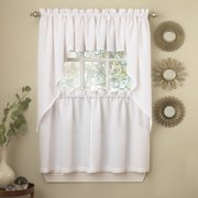 White Solid Opaque Ribcord Kitchen Curtains Choice of Tiers Valance or Swag