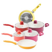 Gibson Home Ancona 10-Piece White Ceramic Non-Stick Cookware Set, Warm