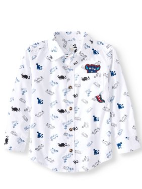 365 Kids From Garanimals Print Button Down Shirt (Little Boys & Big Boys)