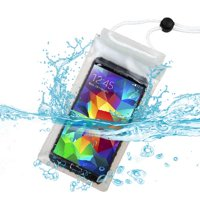 Premium Large-Sized T-Clear Waterproof Case Bag (with Lanyard) for Alcatel 5020T (One Touch Evolve), 4015 (One Touch /C1), A845L (One Touch Pop Star) + MYNETDEALS Mini Touch Screen Stylus