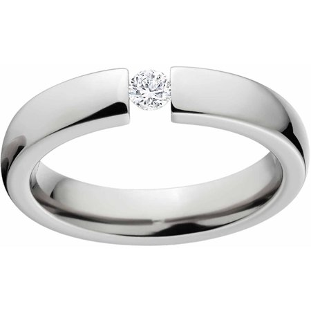 - 1/10 Carat T.G.W. Round CZ Titanium Tension-Set Engagement Ring with Comfort Fit Design
