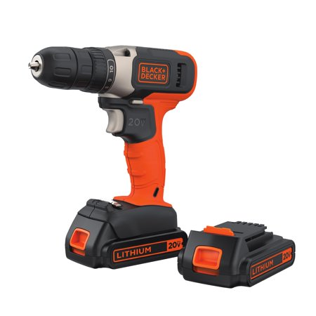 - BLACK+DECKER 20-Volt MAX* Lithium Cordless Drill With 2 Batteries, BCD702C2BWM