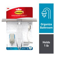 Command Shower Squeegee, Satin Nickel, 1 Squeegee, 1 Hook, 1 Small Water-Resistant Strip/Pack