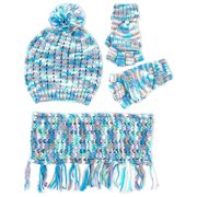 ABG Accessories Chunky Knit Beanie Hat, Scarf and Matching Gloves Set, Big Girls 7-14