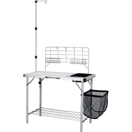 Camping Kitchen - Ozark Trail Portable Camp Kitchen and Sink Table with Lantern Pole