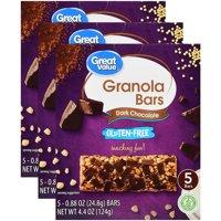 (3 Pack) Great Value Gluten-Free Granola Bars, Dark Chocolate, 4.4 oz, 5 Count