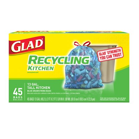 Glad Recycling Tall Drawstring Kitchen Blue Trash Bags - 13 gal - 45 ct ()