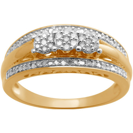 1/4 Carat T.W. Three-Stone Diamond Composite Head 18kt Yellow Gold over Sterling Silver Engagement Ring