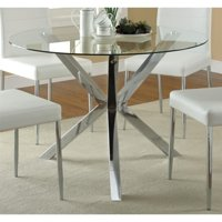 Coaster Vance Contemporary Glass Top Round Dining Table in Chrome