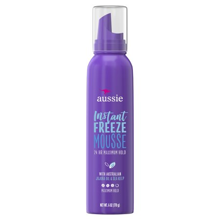 (2 pack) Aussie Instant Freeze 24-Hour Hold Mousse with Jojoba & Sea Kelp, 6.0