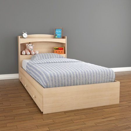 Maple Painted Bed - Nexera Alegria Full Size Storage Bed, Natural Maple