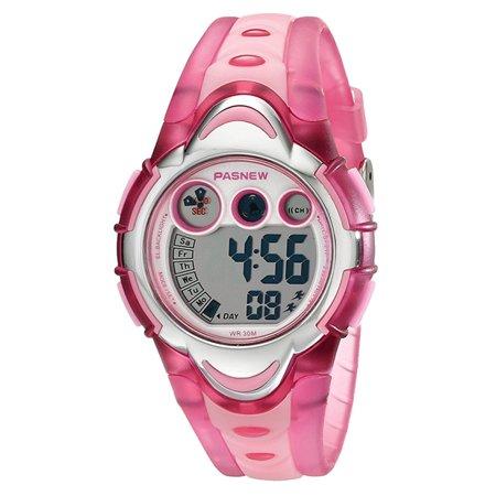 Multifunction Digital Wrist Watch - Children Waterproof LED Digital Wristwatch, Multifunction Sport Watch Color:Pink