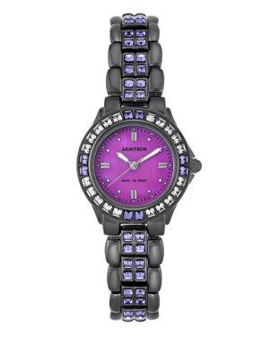 Women's Purple Swarovski Crystal Accented Gunmetal Watch, Stainless Steel