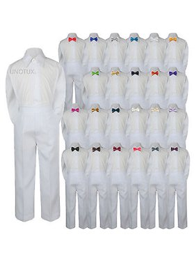 Baby Toddler Kid Boys Wedding Formal 3pc Set Shirt White Pants Bow Tie Suit S-7