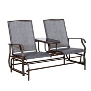 Outsunny 2 Person Mesh Fabric Patio Double Glider Chair With Center Table Brown
