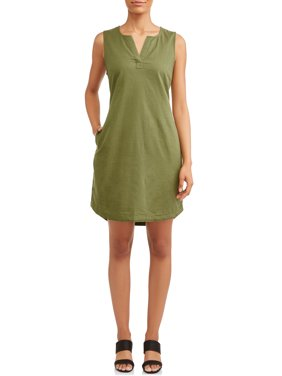 Women's Woven Notch Neck Shift Dress