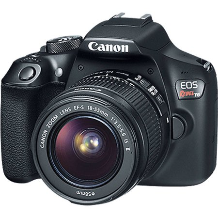 - Black EOS Rebel T6 EF-S IS Digital Camera with 18 Megapixels and 18-55mm Lens Included