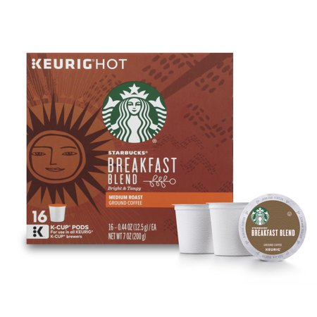 - Starbucks Breakfast Blend Medium Roast Single Cup Coffee for Keurig Brewers, 1 Box of 16 (16 Total K-Cup Pods)