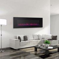 "XtremepowerUS 50"" Wall Mount Electric Fireplace with Glass Firestone, 750W/1500W"