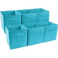 Sorbus Foldable Storage Cube Basket Bin, 6 Pack, Aqua