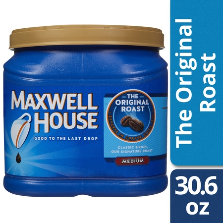 Blended Ground Coffee ((2 Pack) Maxwell House Original Blend Ground Coffee, Medium Roast, 30.6 Ounce Canister)