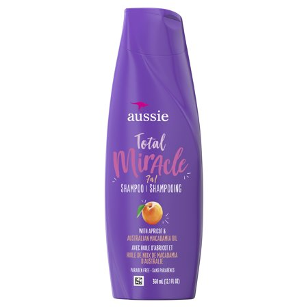 Aussie Paraben-Free Total Miracle Shampoo w/ Apricot & Macadamia For Hair Damage 12.1 fl (Best Shampoo For Dyed Black Hair)
