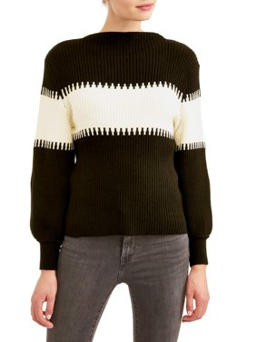 Women's Balloon Sleeve Mock Neck Sweater