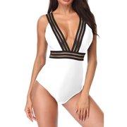 1f9c34a417 B2prity High Neck One Piece Swimsuits for Women V-Neckline Tummy Control  Swimwear Mesh Beach