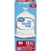 Great Value Tall Kitchen Twist Tie Trash Bags, 13 Gallon, 60 Count