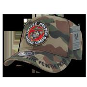 6dc14c17c50 Rapid Dominance US Marines Logo 3D Text Woodland Camo Camouflage Military  Baseball Ball Caps Hats