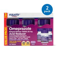 (2 Pack) Equate Acid Reducer Omeprazole Delayed Release Wildberry Mint Tablets, 20 mg, 42 Ct, 3 Pk - Treats Frequent Heartburn