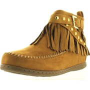 07c1452040 soda women's dahlia faux suede moccasin fringe wedge ankle booties