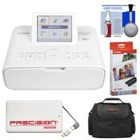 Canon SELPHY CP1300 Wi-Fi Wireless Compact Photo Printer (White) with KP-36IP Color Ink Paper Set + Power Bank + Case Kit