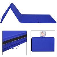 "Costway 4'x10'x2"" Folding Gymnastics Gym Exercise Mats Blue Stretching Yoga Mat Blue"