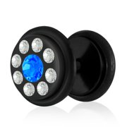 Black Anodized Stainless Steel Faux Ear Plug w/ Clear and Blue Sapphire CZ and O Rings