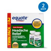 Equate Extra Strength Headache Relief Caplets, 250 mg, 100 Ct, 2 Pk