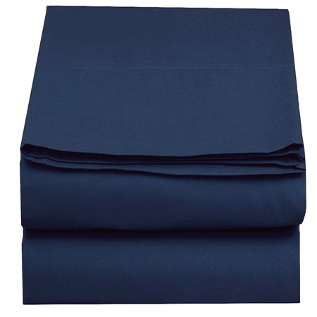 - Flat Sheet ! - Elegant Comfort® Wrinkle-Free 1500 Thread Count Egyptian Quality 1-Piece Flat Sheet, King Size, Navy Blue