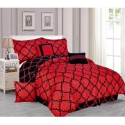 Galaxy 7 Piece Comforter Set Reversible Soft Oversized Bedding Red Black Queen Size