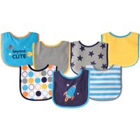Luvable Friends Baby Boy and Girl Drooler Bib with PEVA Back, 7-Pack - Blue Rocket