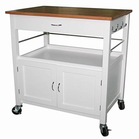Natural Kitchen Cart With Butcher Block Top : eHemco Kitchen Island Cart Natural Butcher Block Bamboo Top with White Base - Walmart.com