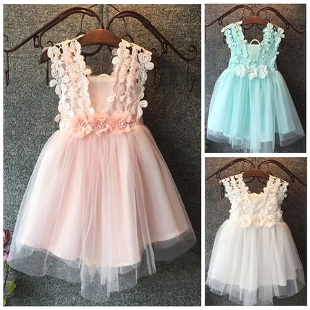 Baby Fancy Dress Costumes (Baby Girls Princess Lace Tulle Flower Fancy Gown Formal Party Dress)